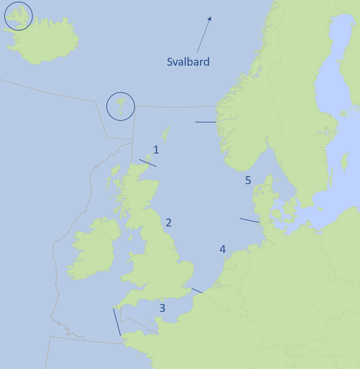 Figure b. The five fulmar EcoQO sub-regions within the Greater North Sea (OSPAR Region II) and additional locations named in text.