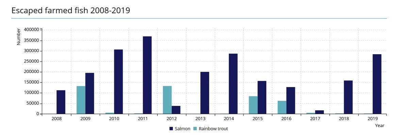 Figure 10 Escaped farmed fish in Norway 2008-2019
